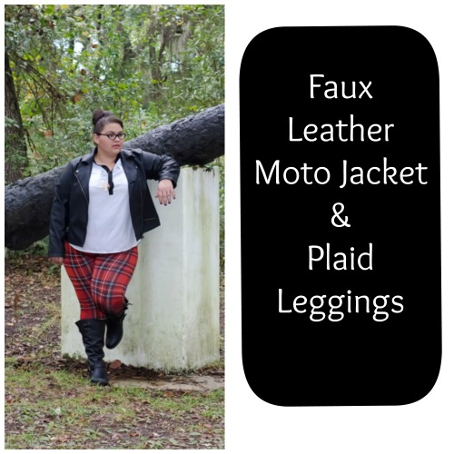 Deb Shops Faux Leather Jacket & Plaid Leggings on Kirstin Marie, Deb Shops Fall Must Haves