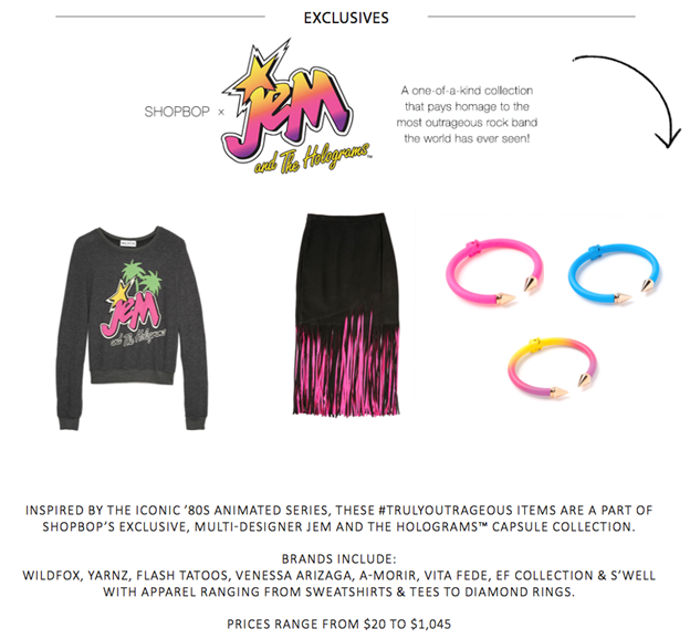 Jem and the Holograms collection at Shopbop on Kirstin Marie