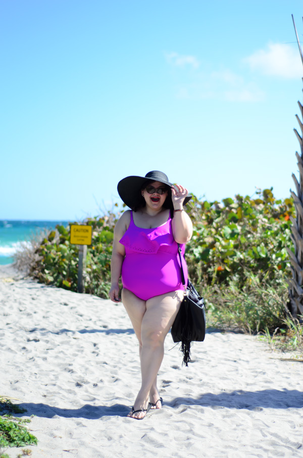Ava & Viv Purple Lasercut plus size swimsuit on Kirstin Marie