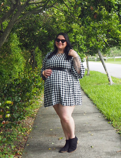 #WeAreCurves Fall Fashion Simply Be Gingham Dress on Kir Sparkles